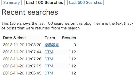 Search Meterの過去100検索及び500検索の詳細