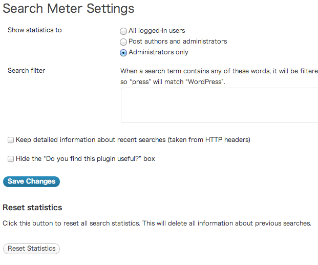 Search Meter設定画面