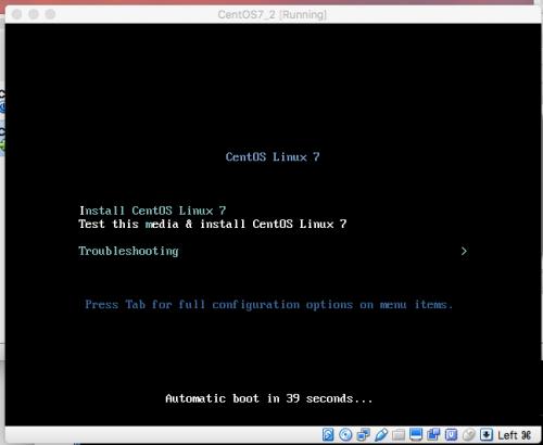 CentOS7初期画面